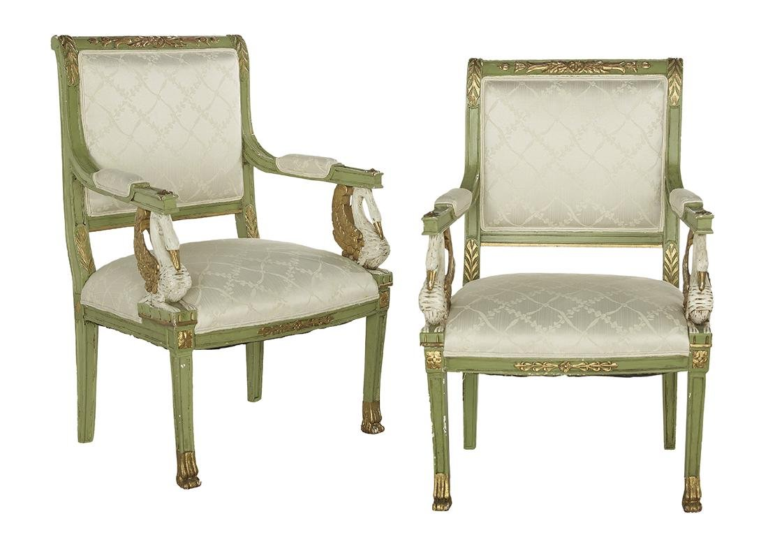 Pair of Baltic Neoclassical-Style Armchairs