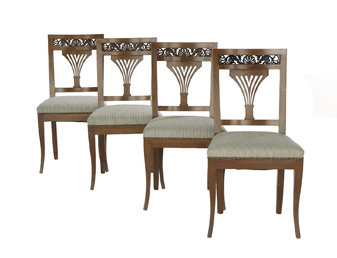 Four Biedermeier-Style Ebonized Side Chairs