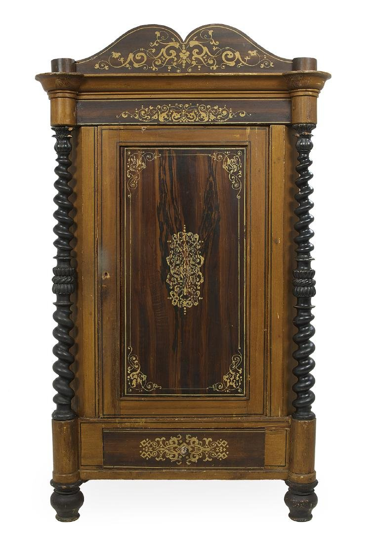 Continental Polychrome and Faux Bois Cabinet