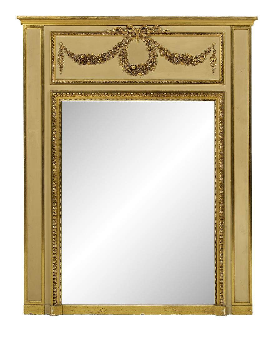 French Empire-Style Parcel-Gilt Trumeau Mirror