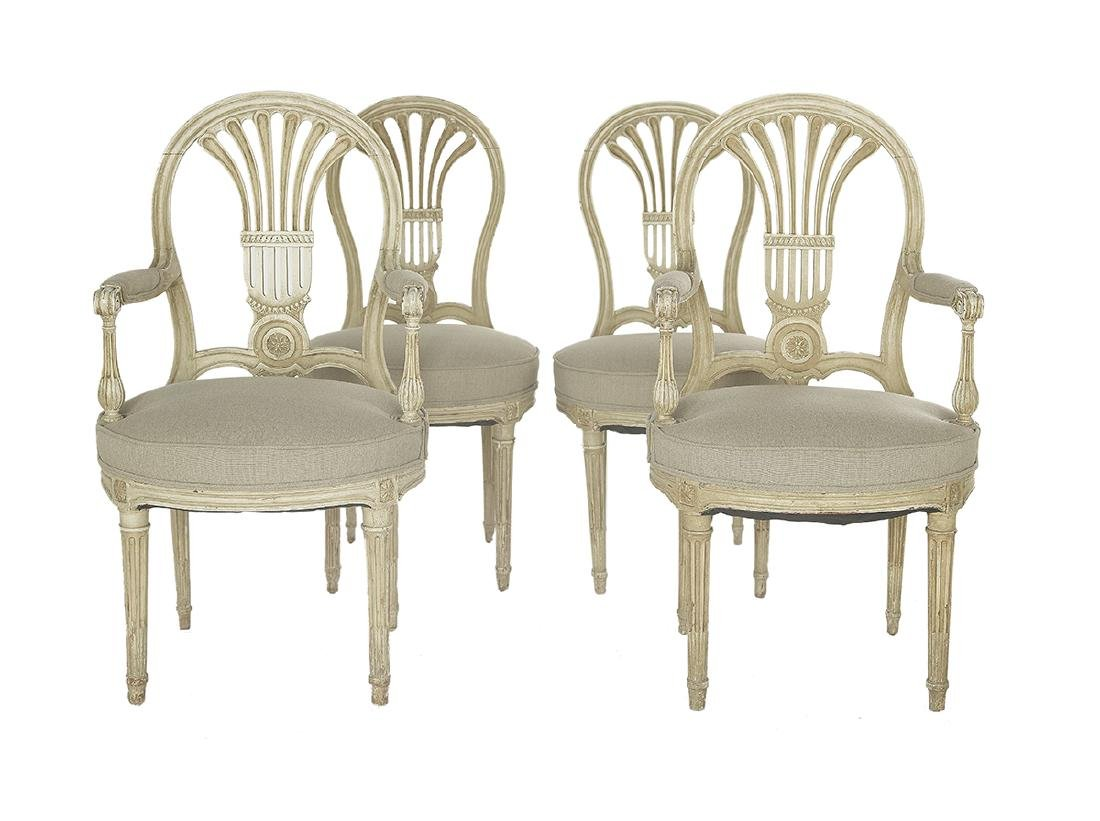 Suite of Four Louis XVI-Style Polychrome Chairs