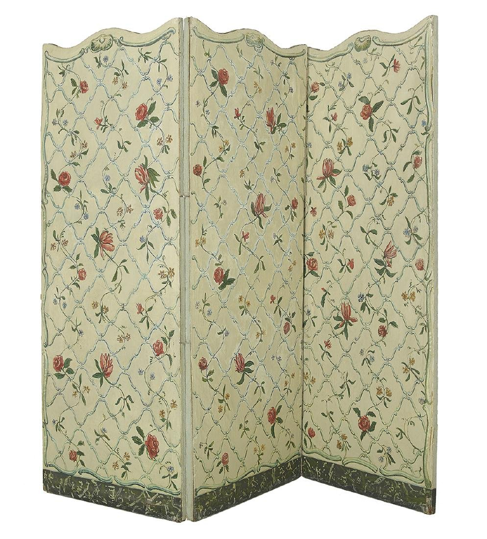 French Hand-Painted Three-Panel Screen