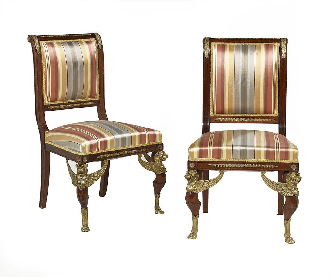 Pair of Empire-Style Mahogany Side Chairs