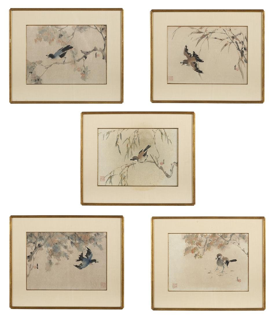 Five Chinese Watercolor & Ink Paintings on Paper