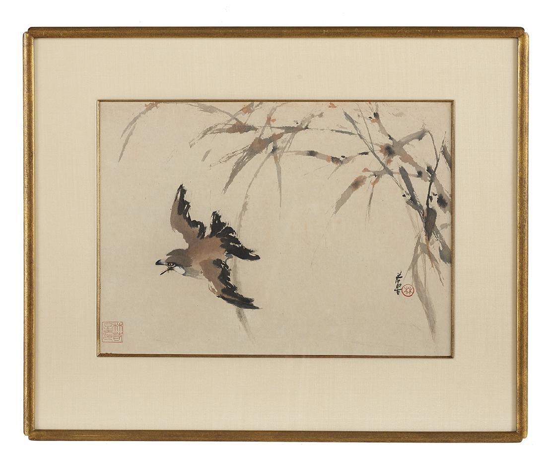 Five Chinese Watercolor & Ink Paintings on Paper - 3