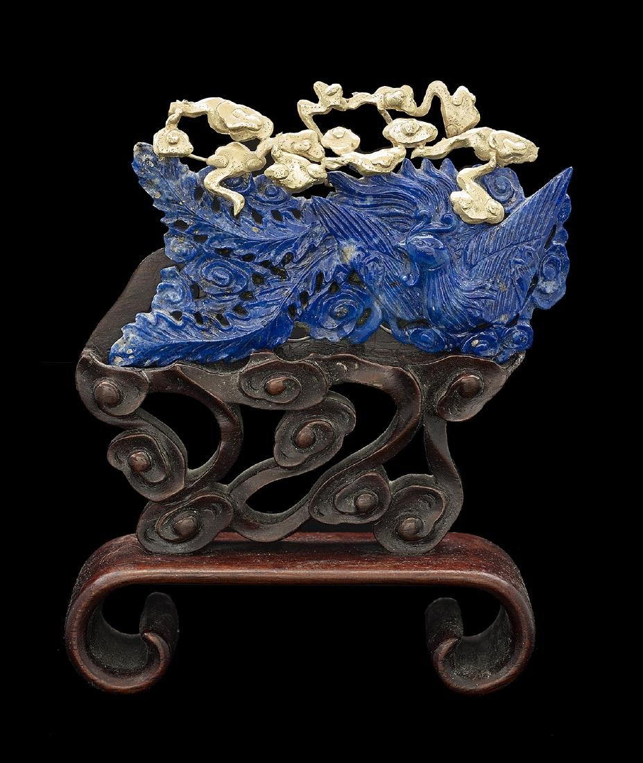 Chinese Lapis Lazuli and Gold Pierced Phoenix