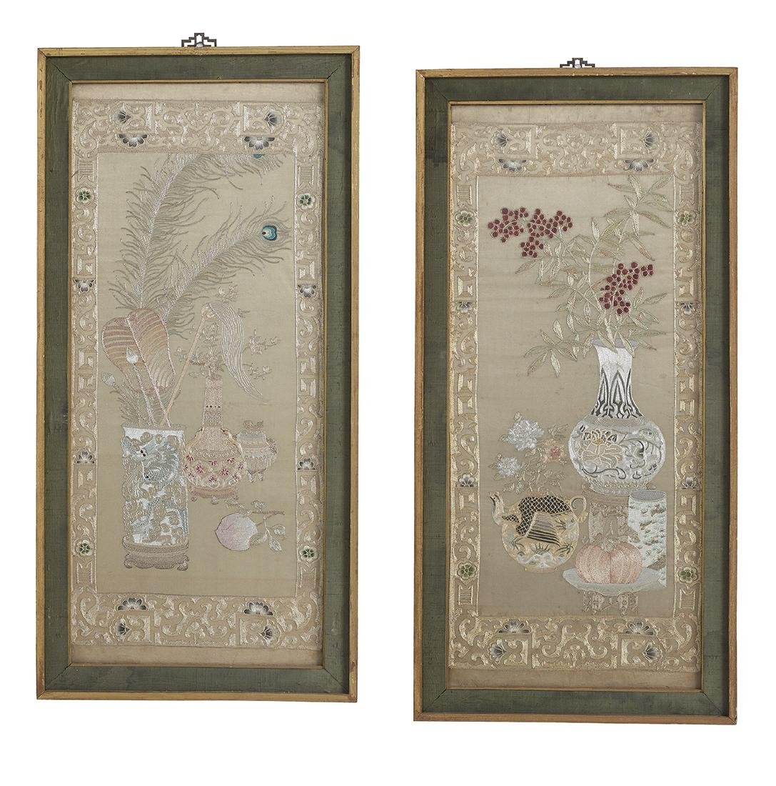 Pair of Handsome Chinese Silk Embroidered Panels