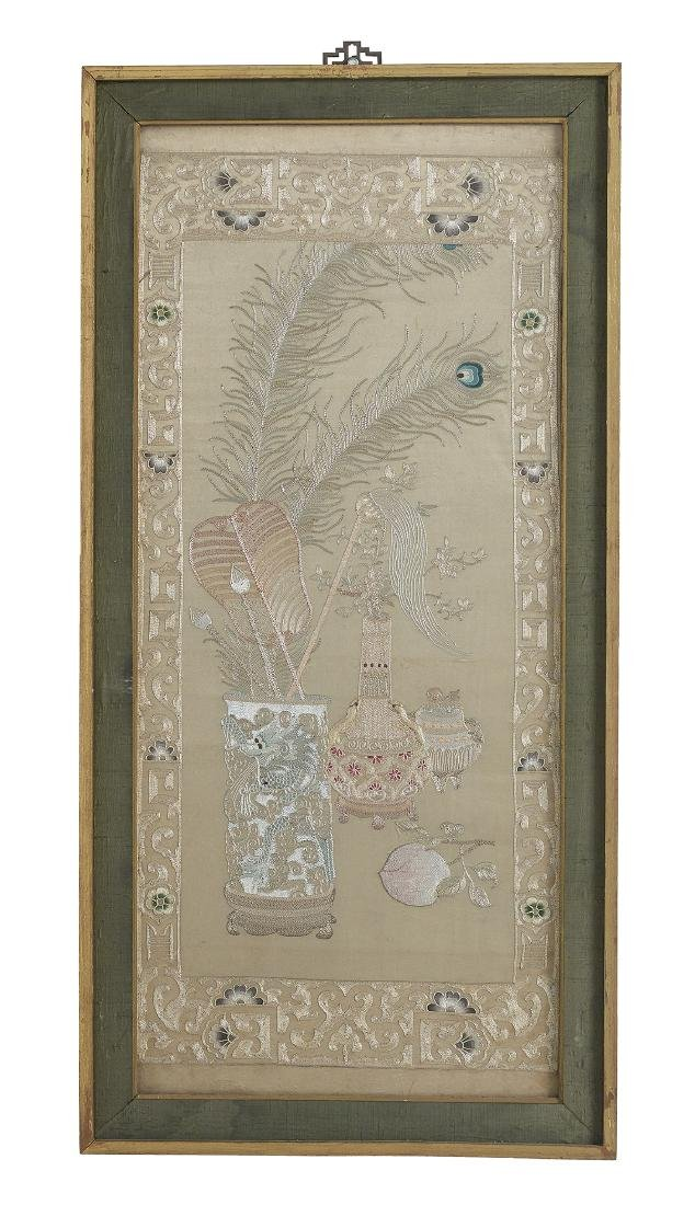 Pair of Handsome Chinese Silk Embroidered Panels - 2