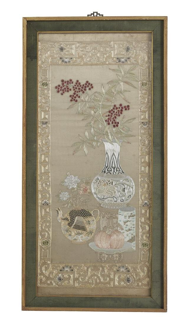Pair of Handsome Chinese Silk Embroidered Panels - 3