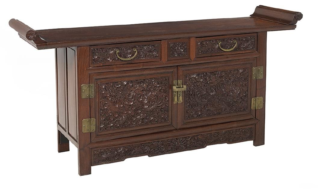 Chinese Carved Hardwood Cabinet - 2