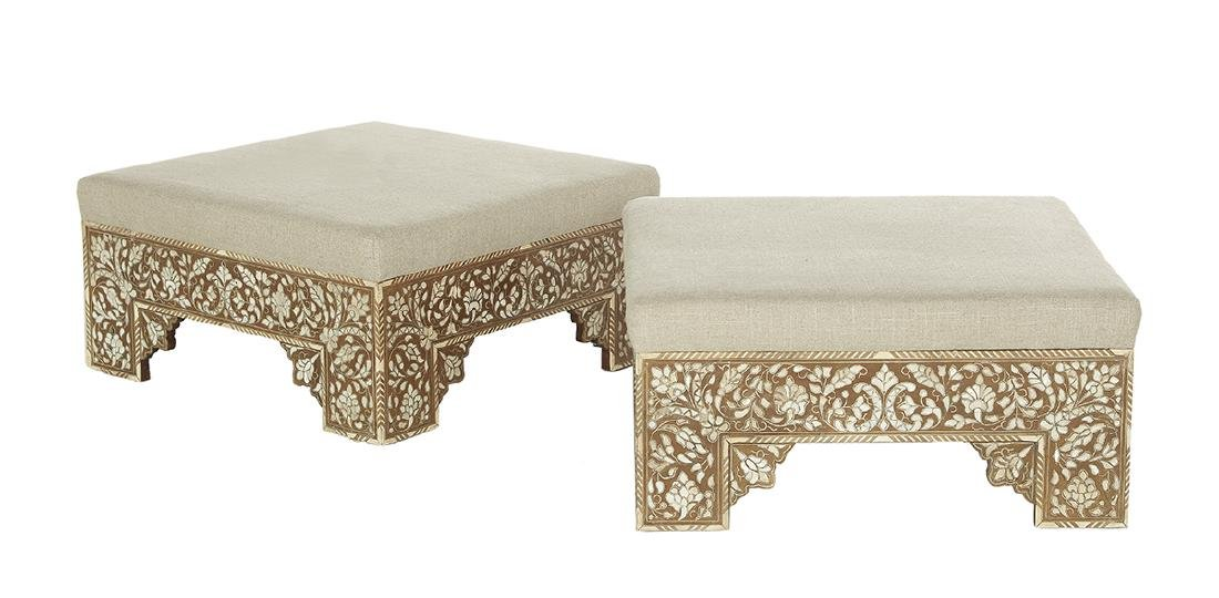 Pair of Moroccan Maple and Bone-Inlaid Ottomans