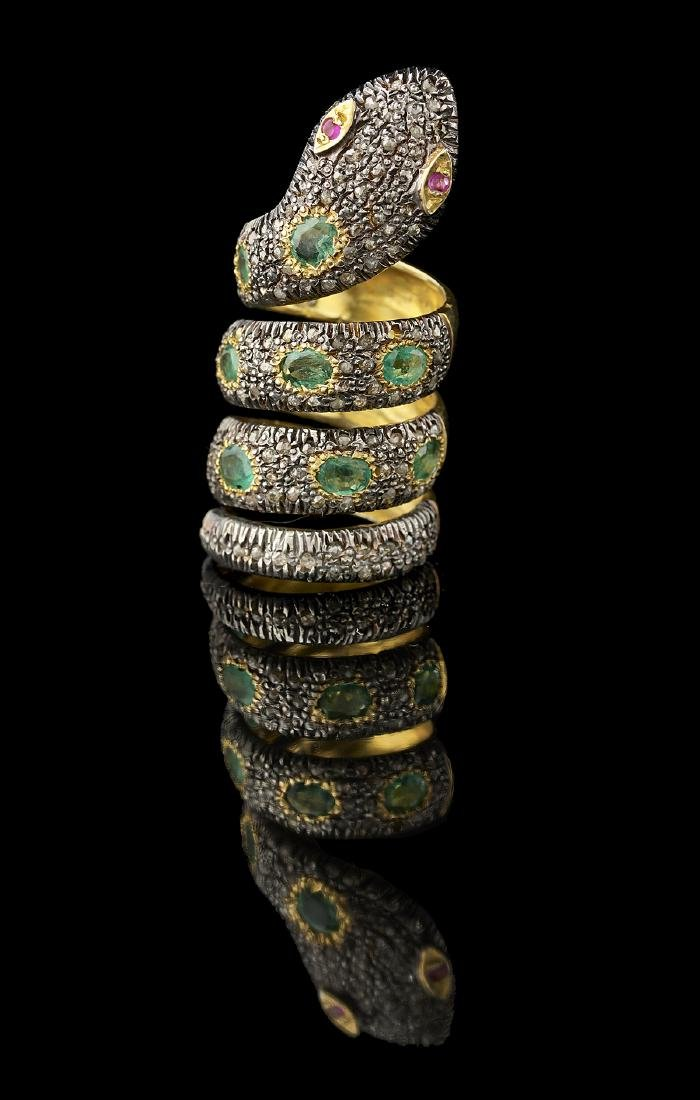 Diamond and Emerald Snake Ring