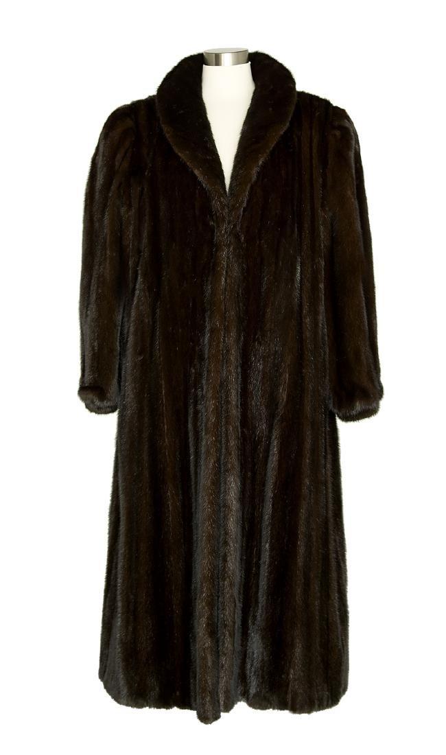 "Vintage Full-Length ""Black Diamond"" Mink Coat"
