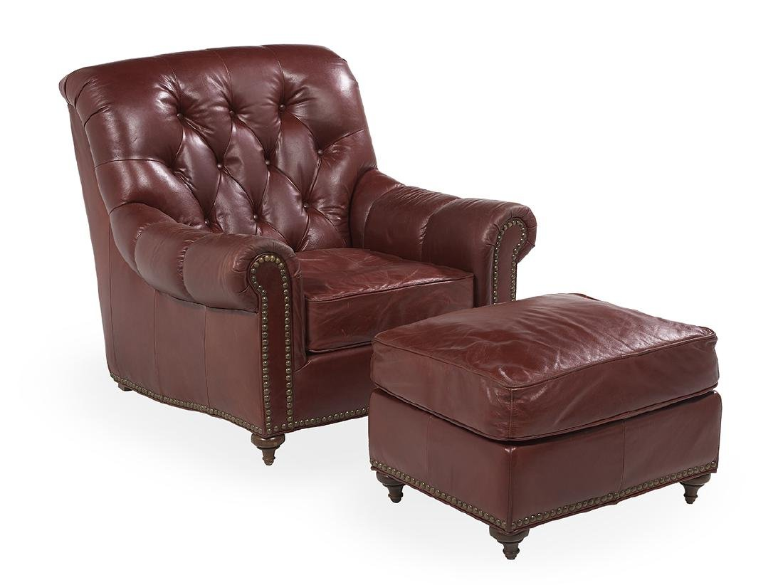 Contemporary Leather Club Chair and Ottoman