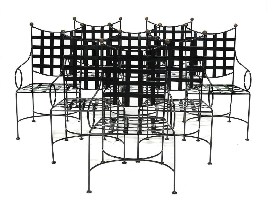 Eight Salterini-Style Brass & Iron Garden Chairs