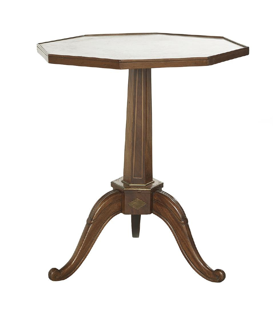 Carved Mahogany Marble-Top Side Table