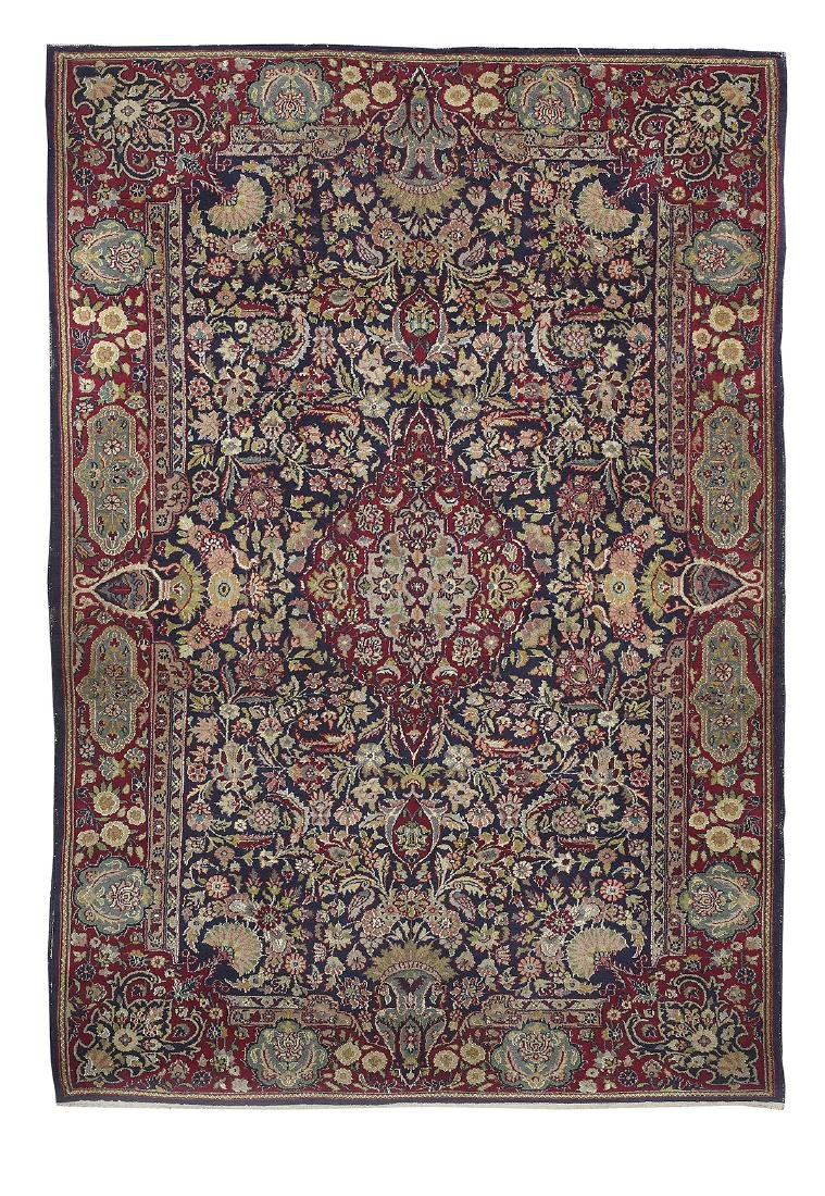 Semi-Antique Silk and Wool Tabriz Carpet