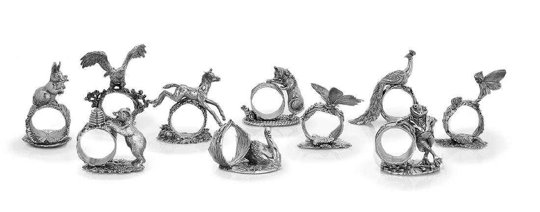 """Ten """"1824 Collection"""" Figural Napkin Rings"""