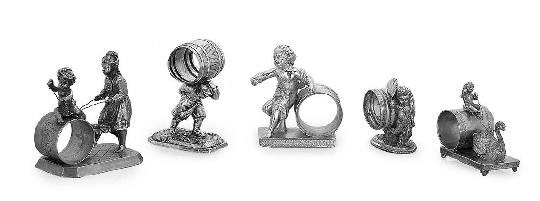 Five Vintage Silverplate Figural Napkin Rings
