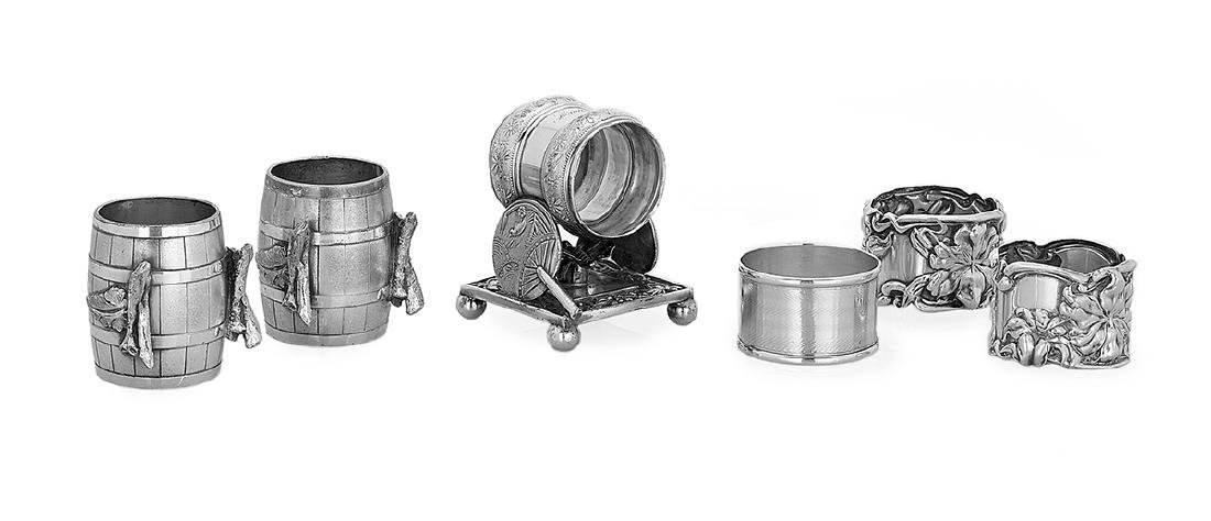 Five Vintage Silver and Silverplate Napkin Rings