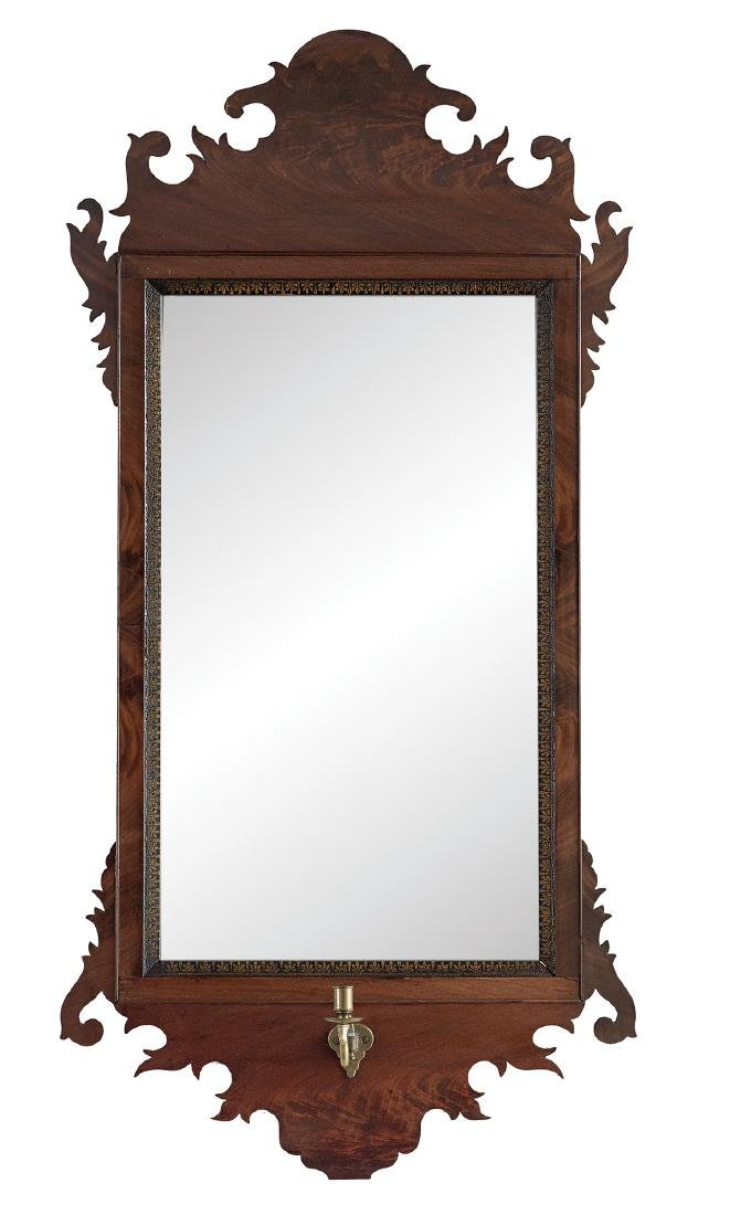 Figured Mahogany Mirror in the Chippendale Style