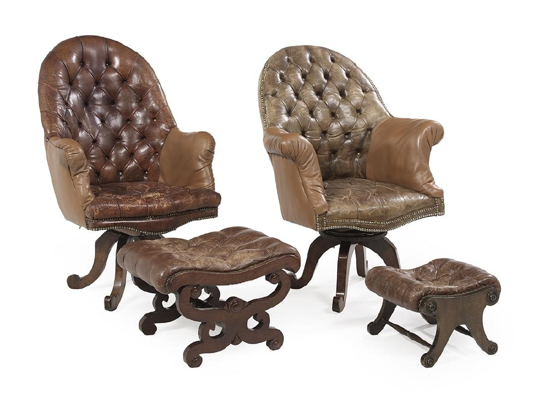 Pair of Victorian Library Chairs and Two Ottomans