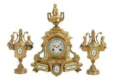 Three Piece French Clock Garniture