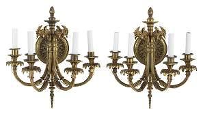 Pair of Louis XVIStyle GiltBronze Sconces