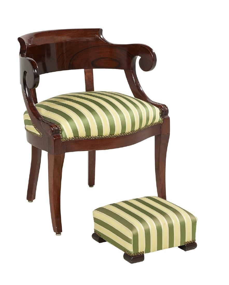 Empire-Style Mahogany Armchair and Footstool