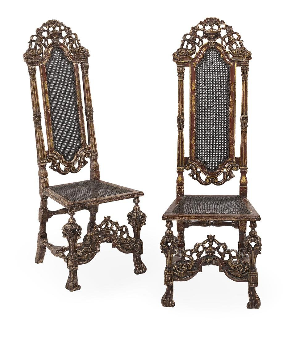 Pair of Carolean-Style Polychrome Side Chairs