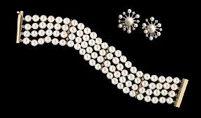 Pearl and Diamond Bracelet and Earrings