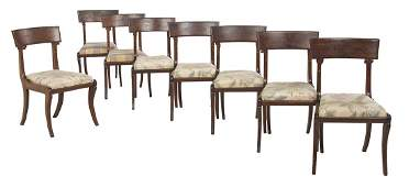 Eight Late Regency Mahogany Dining Chairs