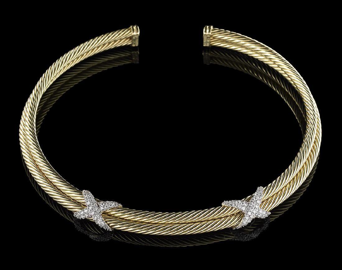 David Yurman-Style Gold and Diamond Cable Choker