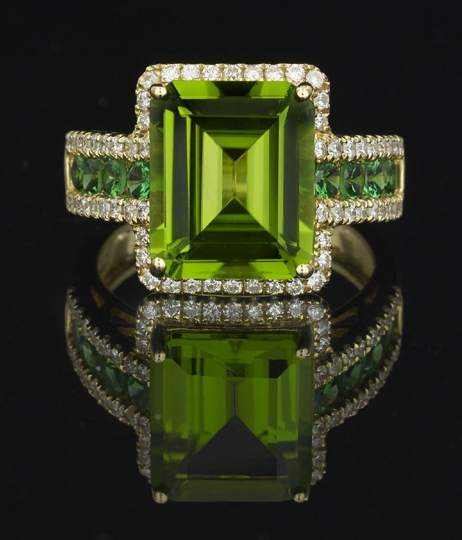 Peridot, Tsavorite Garnet and Diamond Ring