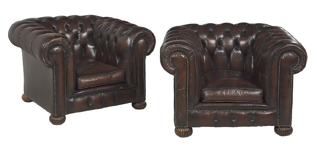 Pair of Edwardian Leather-Upholstered Club Chairs