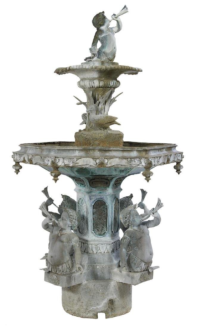 French Bronze Two-Tier Fountain