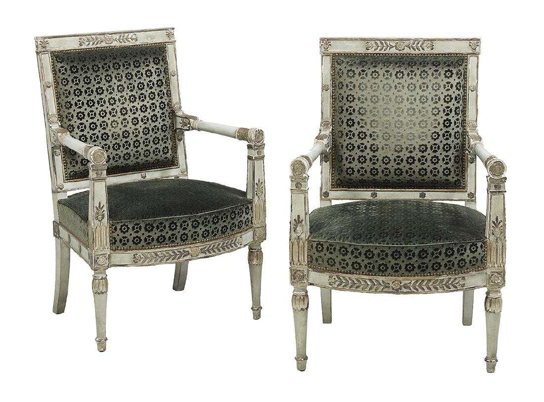 Pair of Directoire-Style Polychrome Fauteuils