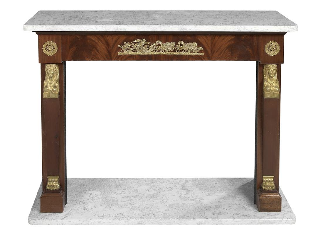 Empire-Style Marble-Top Fireplace Surround