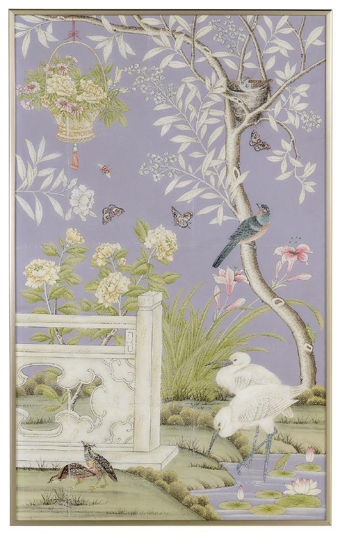 Gracie Framed Chinoiserie Wallpaper Panel