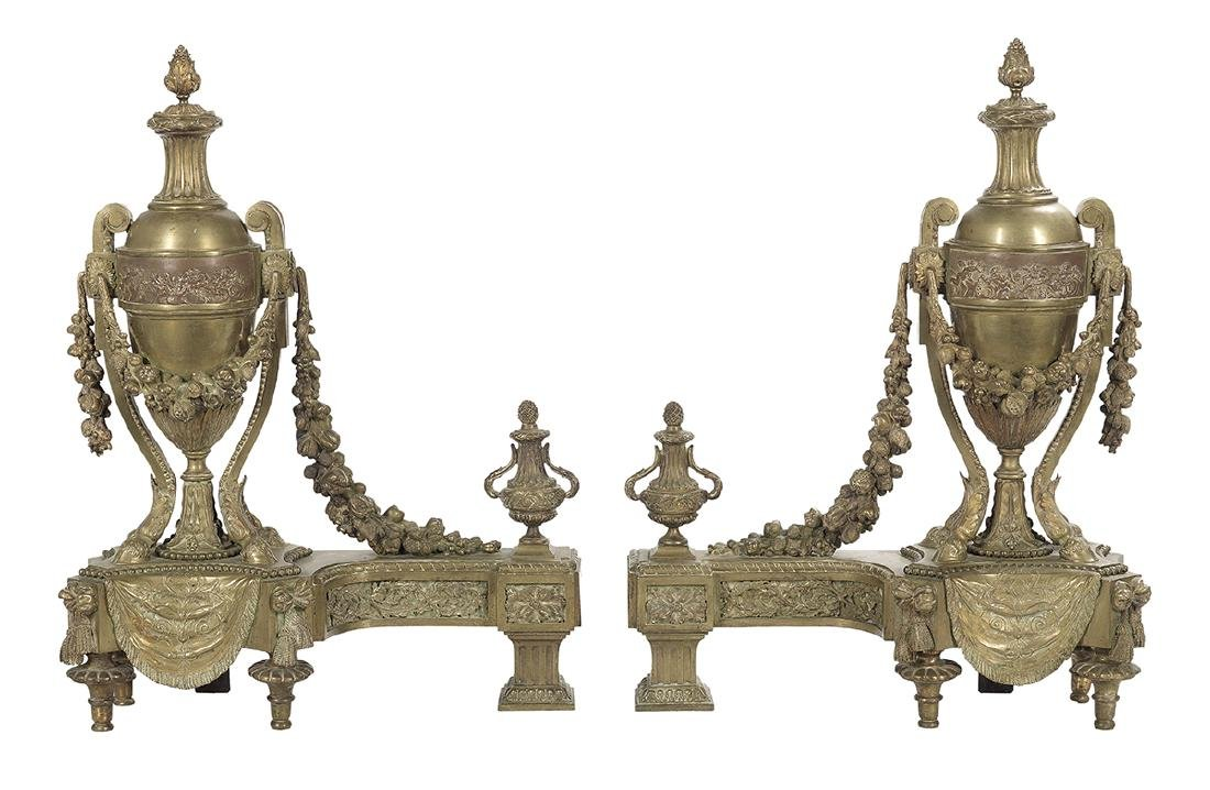 Pair of French Bronze Chenets