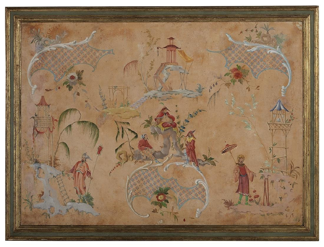Large French Painted and Framed Chinoiserie Scene