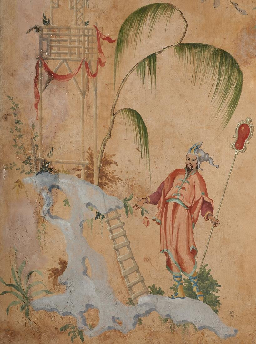 Large French Painted and Framed Chinoiserie Scene - 4