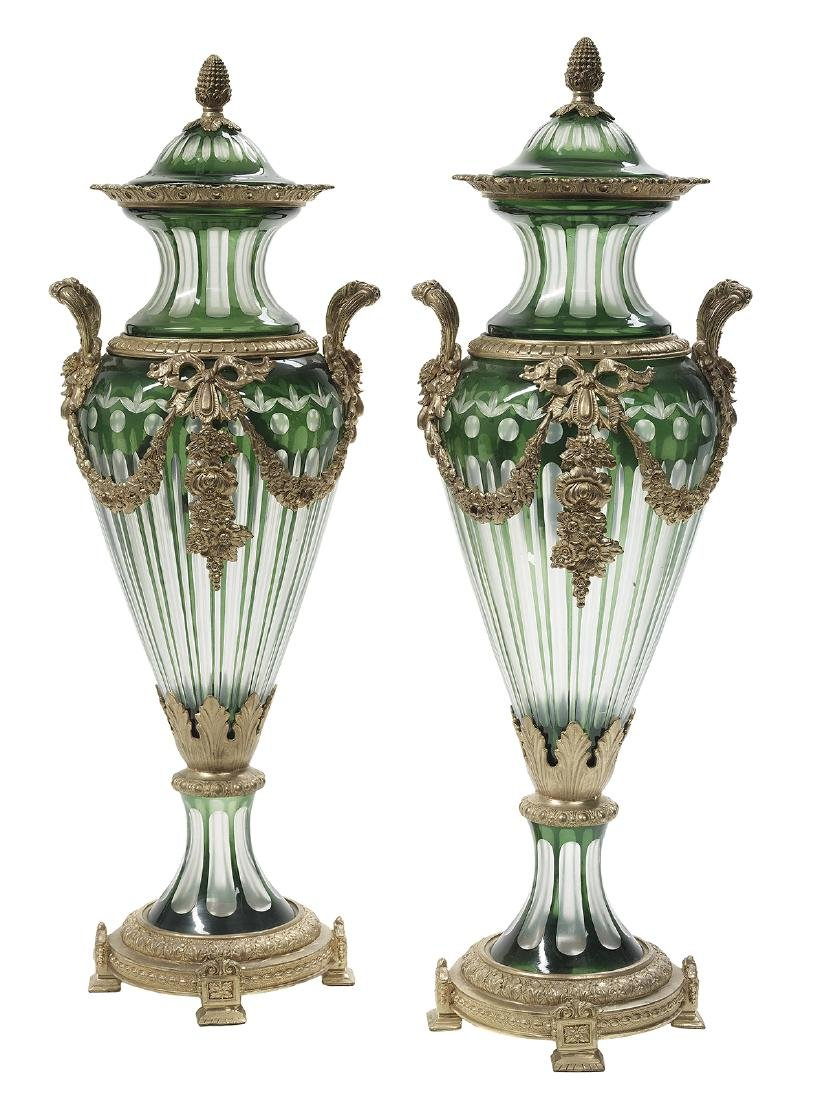 Pair of Bronze-Mounted Glass Covered Vases