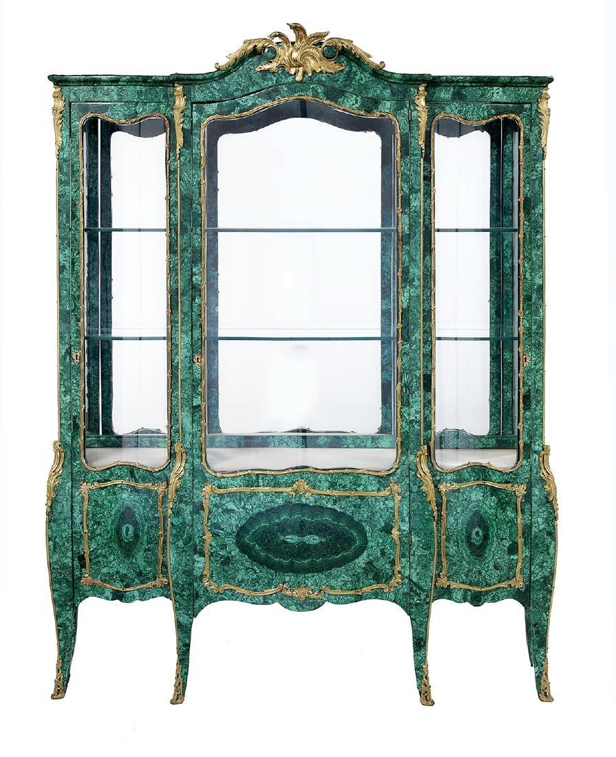 Louis XV-Style Malachite Vitrine