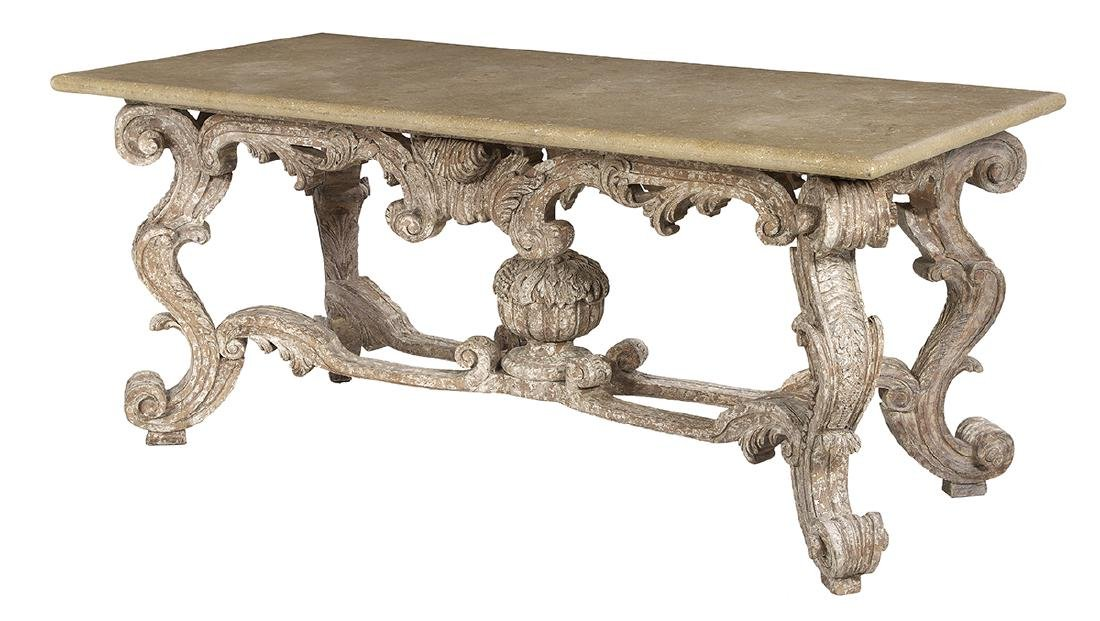 Italian Polychrome and Granite-Top Table - 2