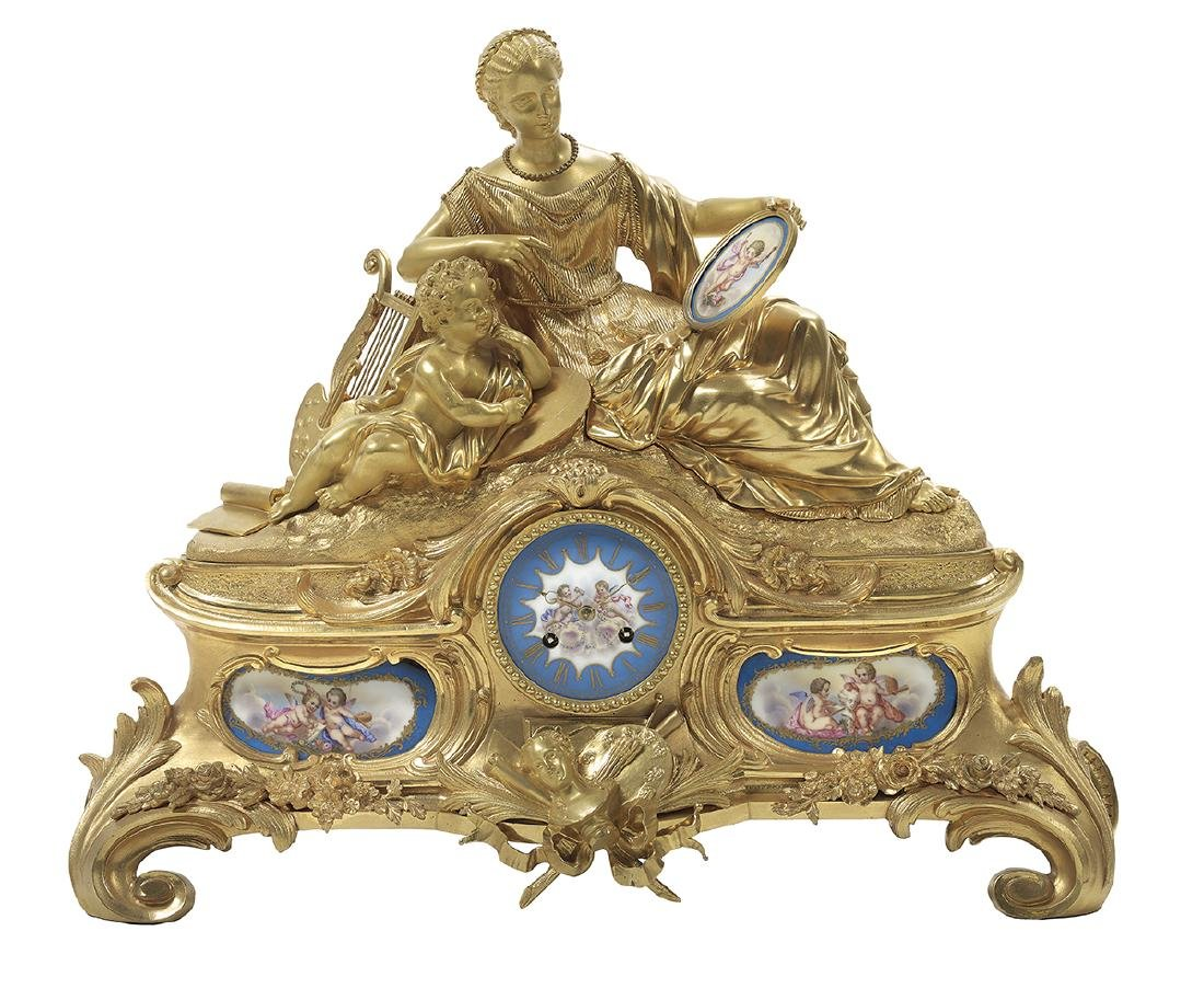 Napoleon III Bronze and Porcelain Mantel Clock