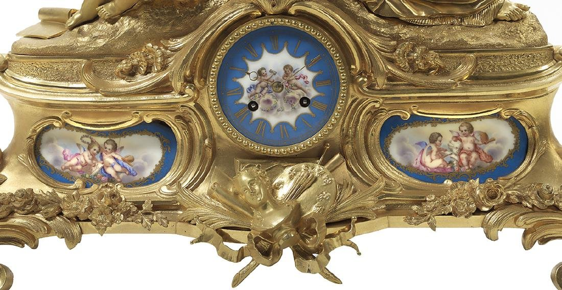 Napoleon III Bronze and Porcelain Mantel Clock - 3