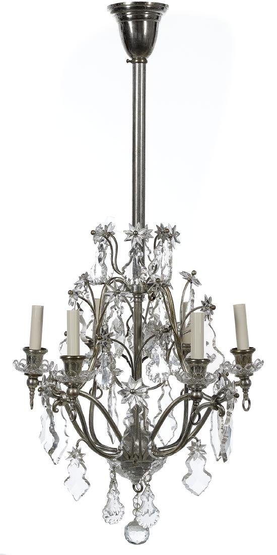 French Crystal and Silver-Plate Chandelier