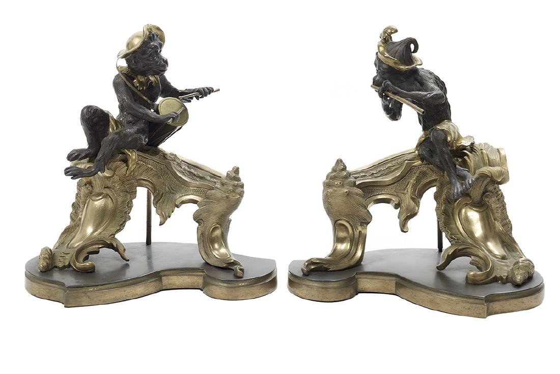 Pair of Charming French Bronze Chenets