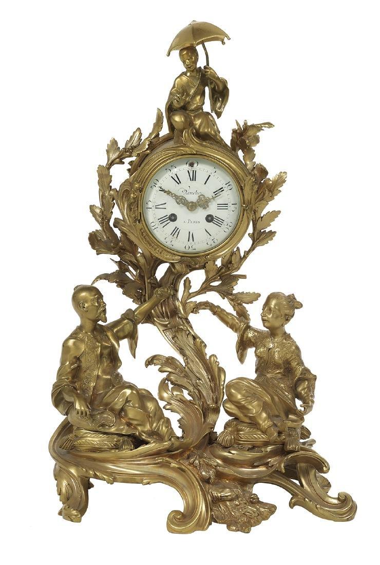 Louis XV Gilt-Bronze Mantel Clock